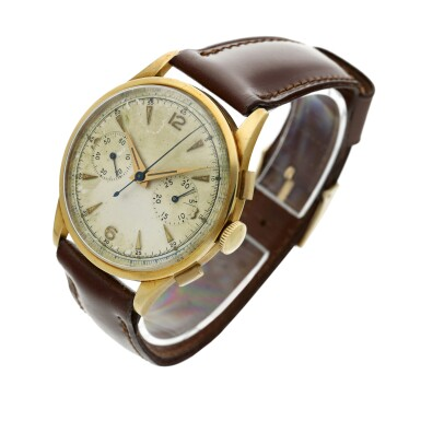 View 2. Thumbnail of Lot 116. Reference 2635  A large yellow gold chronograph wristwatch, Circa 1965 .