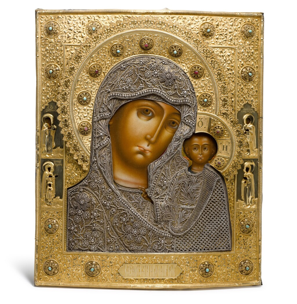 A LARGE GEM-SET SILVER-GILT AND FILIGREE ICON OF THE KAZANSKAYA MOTHER OF GOD, MIKHAIL SHEIN, MOSCOW, 1865