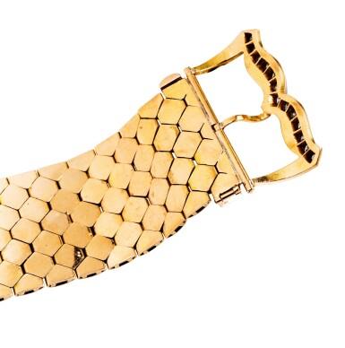 View 3. Thumbnail of Lot 60. Gold and diamond bracelet [Bracelet or et diamants], 1950s [vers 1950].