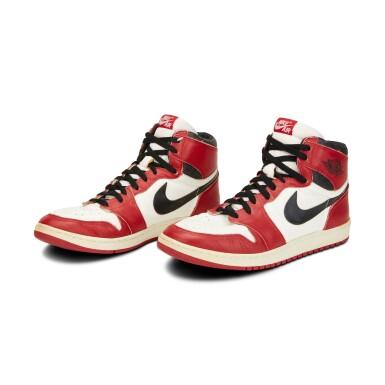 View 1. Thumbnail of Lot 803. Michael Jordan Game Worn 1985 Player Sample Air Jordan 1s   Sizes 13, 13.5.