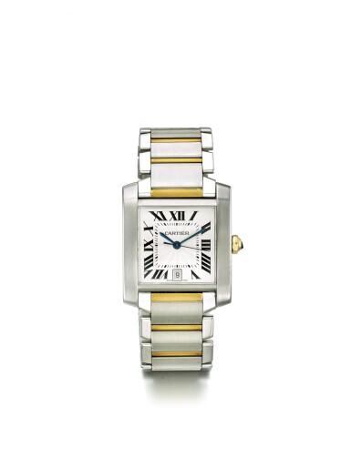CARTIER | TANK FRANÇAISE REF 2302 A STAINLESS STEEL AND YELLOW GOLD RECTANGULAR AUTOMATIC CENTER SECONDS WRISTWATCH WITH DATE AND BRACELET CIRCA 2005