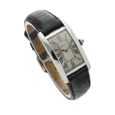 View 3. Thumbnail of Lot 222. Tank Cintrée A rare platinum and yellow gold rectangular wristwatch, Circa 1925 .