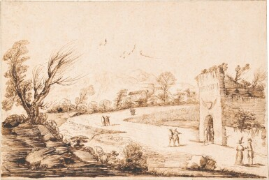 GIOVANNI FRANCESCO BARBIERI, CALLED GUERCINO | AN EXTENSIVE LANDSCAPE WITH A WINDING ROAD, SEVERAL FIGURES AND AN ELEGANT COUPLE IN THE FOREGROUND
