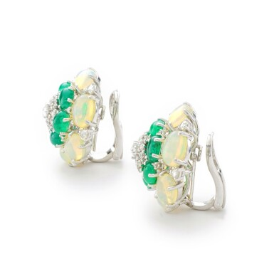 View 2. Thumbnail of Lot 14. MICHELE DELLA VALLE   PAIR OF EMERALD, OPAL AND DIAMOND EAR CLIPS.