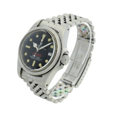 View 8. Thumbnail of Lot 125. REFERENCE 1665 'DOUBLE RED' SEA DWELLER A STAINLESS STEEL WRISTWATCH DATE AND BRACELET, CIRCA 1978.