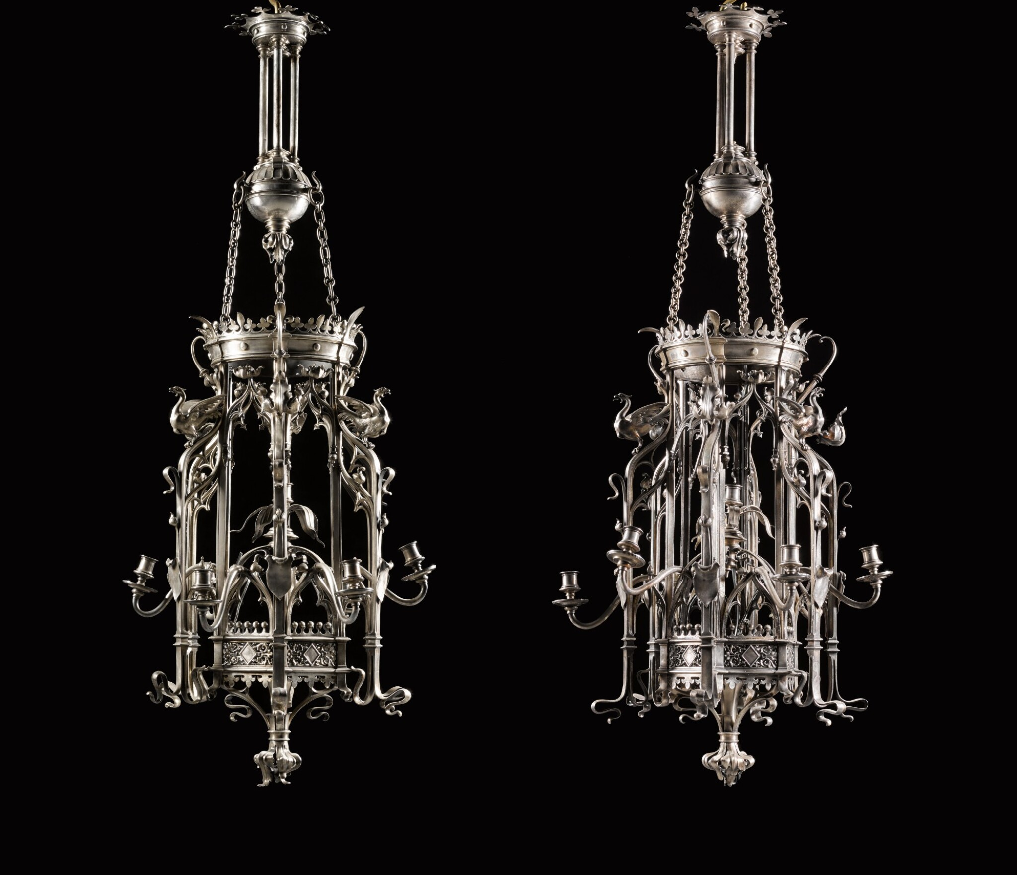 View full screen - View 1 of Lot 130. A pair of French neo-gothic silvered bronze seven-light lanterns, late 19th century, attributed to Emile Froment Meurice.