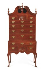 VERY FINE AND RARE QUEEN ANNE CARVED CHERRYWOOD BONNET-TOP HIGH CHEST OF DRAWERS, POSSIBLY GLASTONBURY, CONNECTICUT, CIRCA 1760