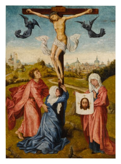 View 1. Thumbnail of Lot 503. MANNER OF ROGIER VAN DER WEYDEN | CHRIST ON THE CROSS WITH THE VIRGIN, SAINT JOHN, AND SAINT VERONICA.