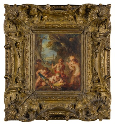 View 2. Thumbnail of Lot 27. FRANÇOIS LEMOYNE | PUTTI PLAYING IN A LANDSCAPE .