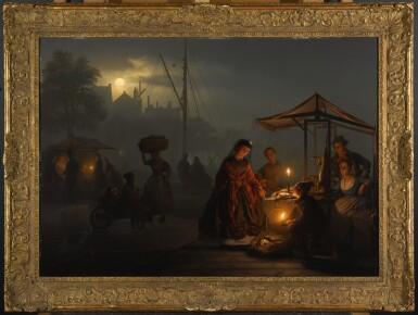View 2. Thumbnail of Lot 31. PETRUS VAN SCHENDEL   Market in Amsterdam by Moonlight   .