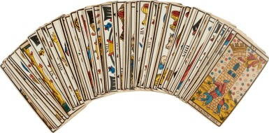 View 1. Thumbnail of Lot 22. Tarot de Marseille | Deck of cards owned by Sylvia Plath.