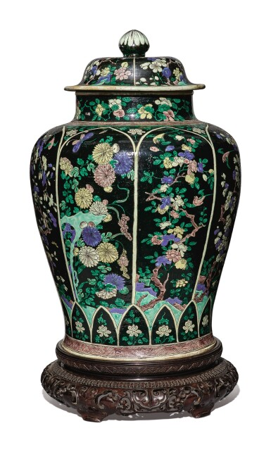 View 3. Thumbnail of Lot 1035. A LARGE FAMILLE-NOIRE 'BIRD AND FLOWER' BALUSTER JAR AND COVER, THE PORCELAIN 18TH CENTURY, THE ENAMELS LATER-ADDED.