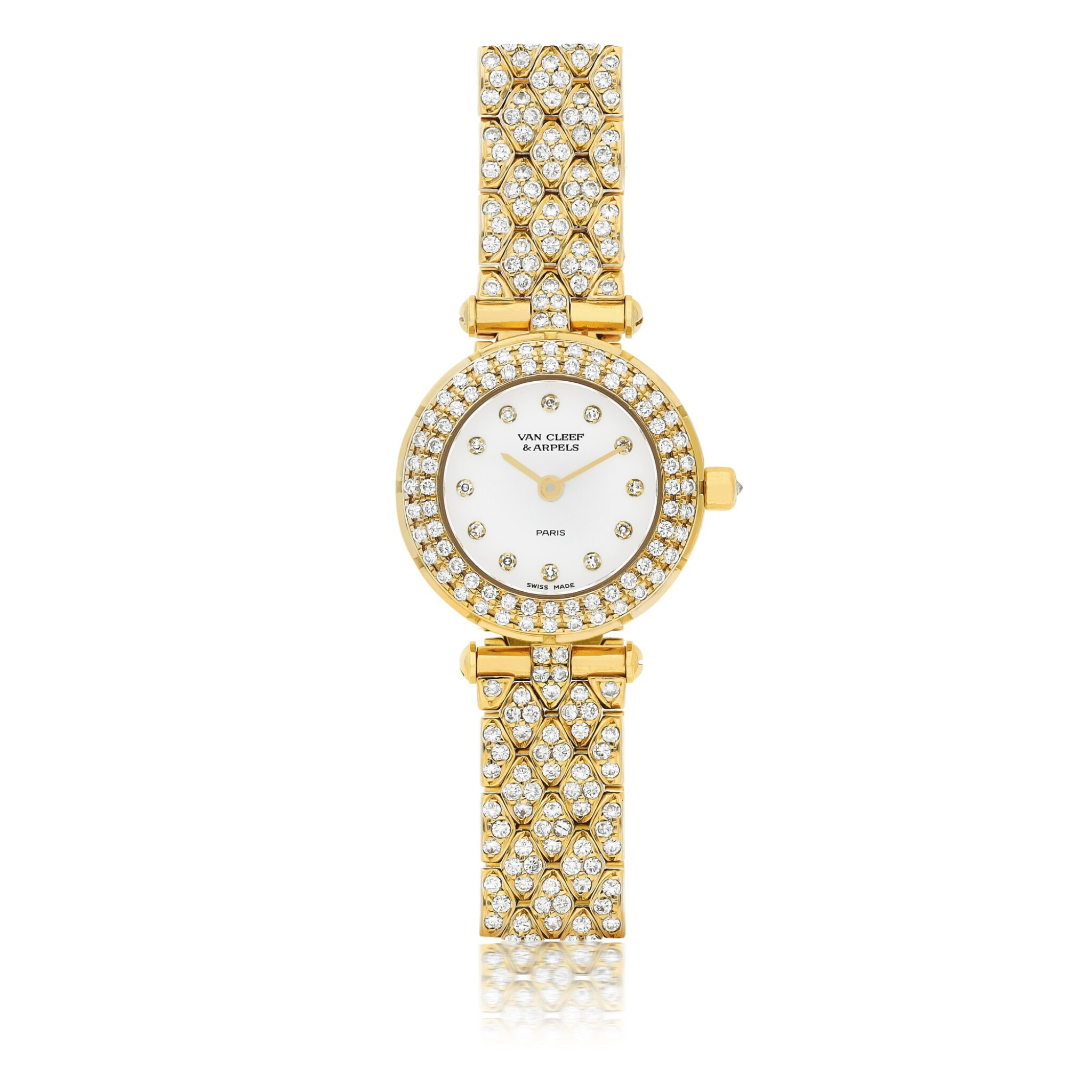 View full screen - View 1 of Lot 189. VAN CLEEF & ARPELS | A YELLOW GOLD AND DIAMOND SET BRACELET WATCH CIRCA 2010.