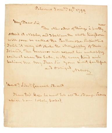 View 1. Thumbnail of Lot 92.  NELSON   autograph letter signed, to Lieutenant General Stuart, 1799.