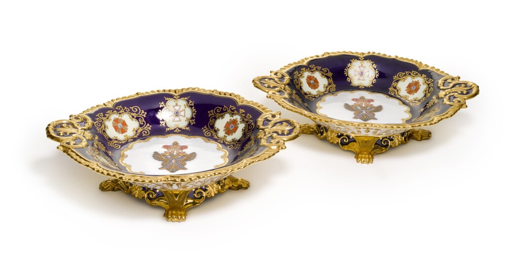 TWO RARE OVAL PORCELAIN TAZZAS FROM THE NICHOLAS I COALPORT SERVICE, IMPERIAL PORCELAIN FACTORY, ST PETERSBURG, PERIOD OF NICHOLAS I (1844-1855)