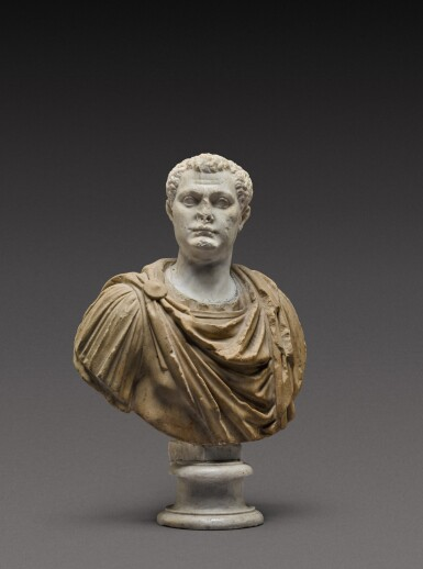 View 2. Thumbnail of Lot 108. A Roman Marble Portrait Bust of a Man, the head circa A.D. 80, the shoulders 2nd Century A.D..
