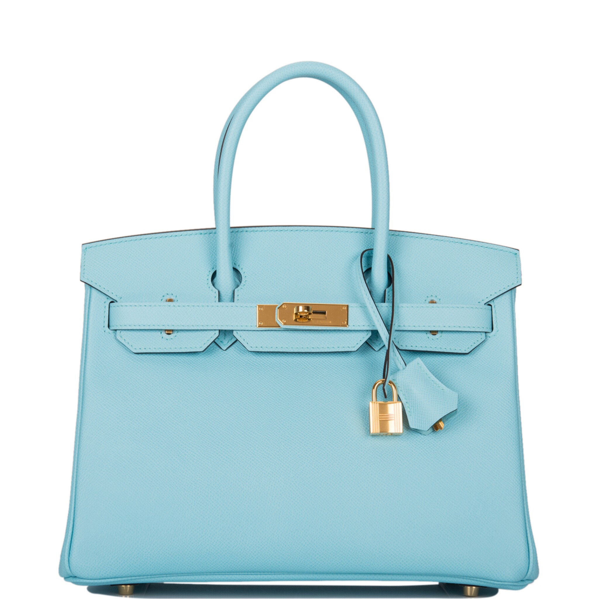 View full screen - View 1 of Lot 18. Hermès Bleu Atoll Birkin 30cm of Epsom Leather with Gold Hardware .