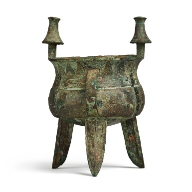 View 3. Thumbnail of Lot 11. An exceptional and rare archaic bronze ritual wine vessel (Jia), Late Shang dynasty | 商末 䖵崠耒斝.