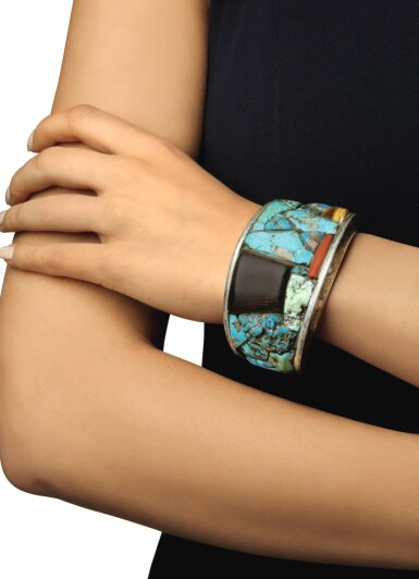 View 2. Thumbnail of Lot 128. CHARLES LOLOMA | TURQUOISE, WOOD, CORAL AND TIGER'S EYE CUFF-BRACELET.
