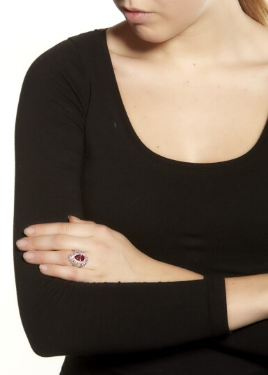 View 4. Thumbnail of Lot 5. PINK TOURMALINE AND COLOURED SAPPHIRE RING.
