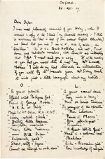 LAWRENCE | Autograph letter signed, to Sir William Orpen, 26 December 1919