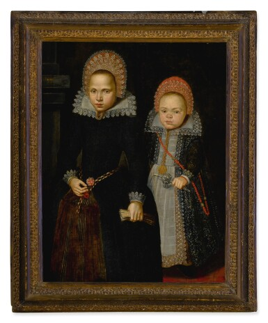 View 2. Thumbnail of Lot 505. DUTCH SCHOOL, EARLY 17TH CENTURY | PORTRAIT OF TWO CHILDREN, FULL LENGTH, ONE HOLDING GLOVES AND THE OTHER HOLDING A SILVER EMBROIDERED RATTLE.