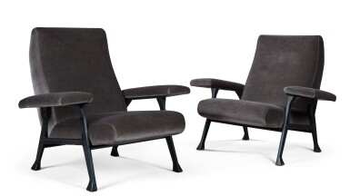 View 3. Thumbnail of Lot 179. ROBERTO MENGHI | PAIR OF HALL ARMCHAIRS FOR ARTFLEX.