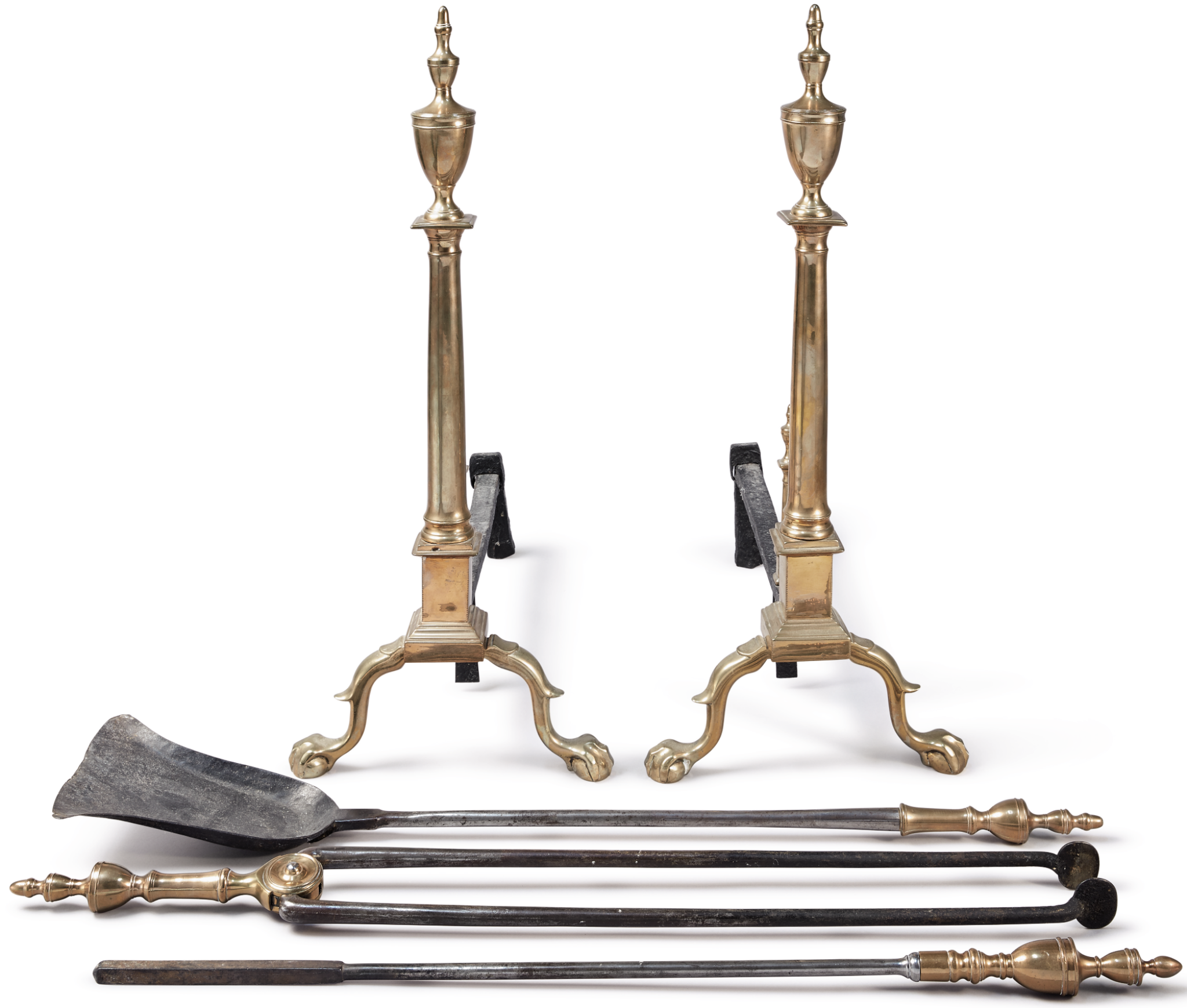 View 1 of Lot 1206. PAIR OF CHIPPENDALE CAST BELL-METAL AND WROUGHT IRON ANDIRONS AND ACCOMPANYING FIRE TOOLS, PHILADELPHIA, CIRCA 1790.
