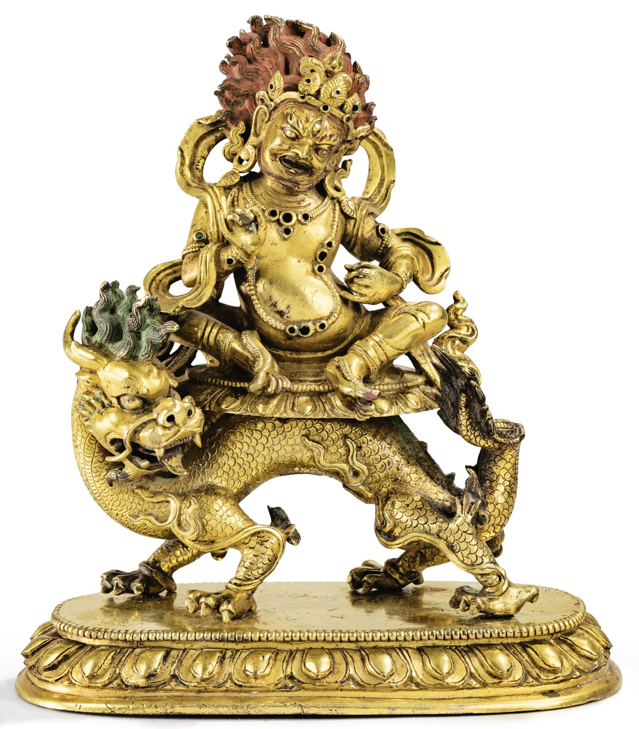 STATUETTE DE JAMBHALA BLANC EN BRONZE DORÉ DYNASTIE QING, XVIIIE SIÈCLE|  清十八世紀 鎏金銅騎龍白財神坐像| A well-cast gilt-bronze figure of White Jambhala, Qing Dynasty, 18th century