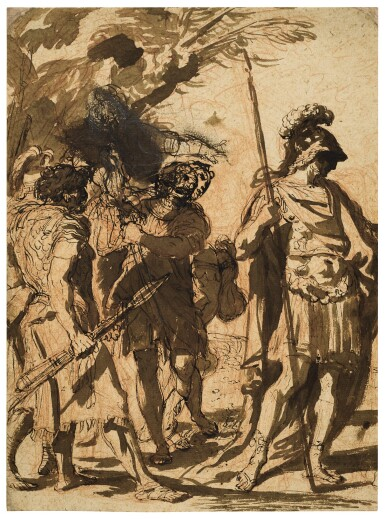 View 1. Thumbnail of Lot 223. Recto: Roman Soldiers Verso: Kneeling angels and a head, and a kneeling figure.