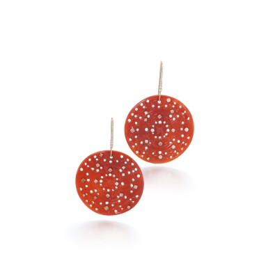 View 1. Thumbnail of Lot 113. Pair of carnelian and diamond earrings.