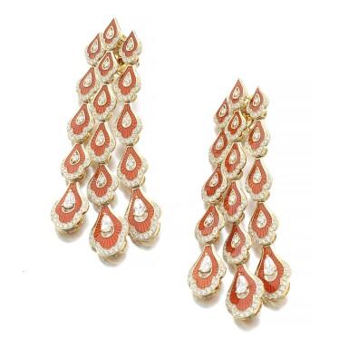 View 2. Thumbnail of Lot 1067. Pair of enamel and diamond earrings.