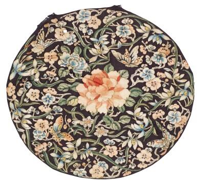 TWO SILK KESI 'LOTUS' ROUNDELS QING DYNASTY, 19TH CENTURY | 清十九世紀 緙絲團花蝶紋補子