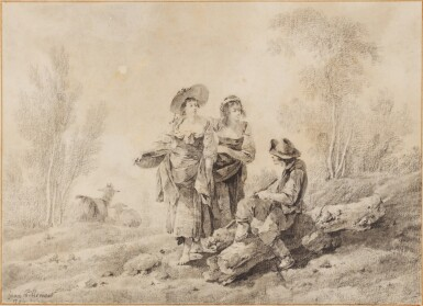 JEAN PILLEMENT   Country-folk in a wooded landscape
