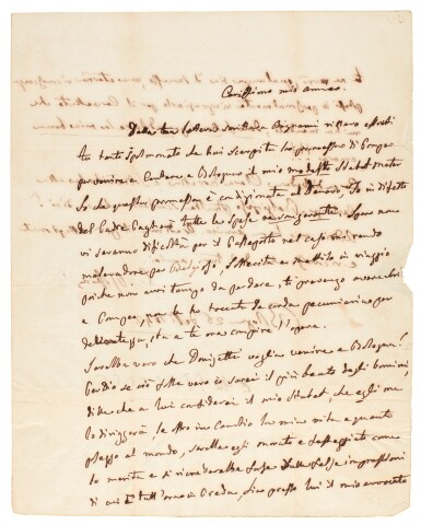 """G. Rossini, autograph letter about Donizetti conducting his """"Stabat Mater"""", 1842"""