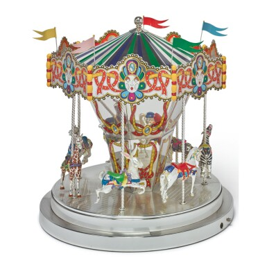 A SILVER AND ENAMEL CAROUSEL, DESIGNED BY GENE MOORE FOR TIFFANY & CO., NEW YORK, CIRCA 1990