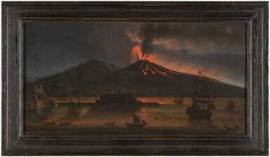 View 3. Thumbnail of Lot 8. TOMMASO RUIZ     VESUVIUS ERUPTING AT NIGHT, MAY 1737             .
