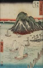 日本 約1833-34年 歌川広重 《東海道五十三次・四日市・三重川》   UTAGAWA HIROSHIGE (1797-1858) YOKKAICHI, MIEGAWA, FROM THE SERIES FIFTY-THREE STATIONS OF THE TÔKAIDÔ ROAD (TÔKAIDÔ GOJÛSAN TSUGI NO UCHI), JAPAN, CA. 1833–1834