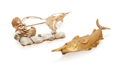 TWO GOLD AND GEM-SET BROOCHES