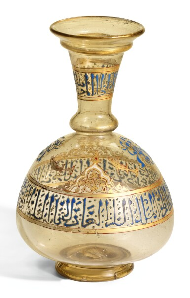 View 2. Thumbnail of Lot 449. A HIGHLY IMPORTANT MAMLUK GILDED AND ENAMELLED GLASS FLASK, SYRIA, MID-13TH CENTURY.