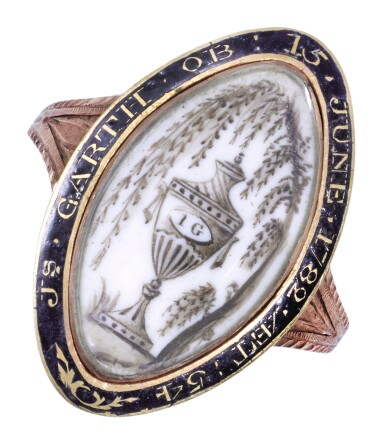 A GOLD, IVORY AND ENAMEL MOURNING RING, ENGLISH, CIRCA 1782