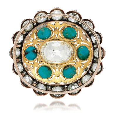 View 3. Thumbnail of Lot 129. Turquoise and diamond pendant/clasp, late 19th century.