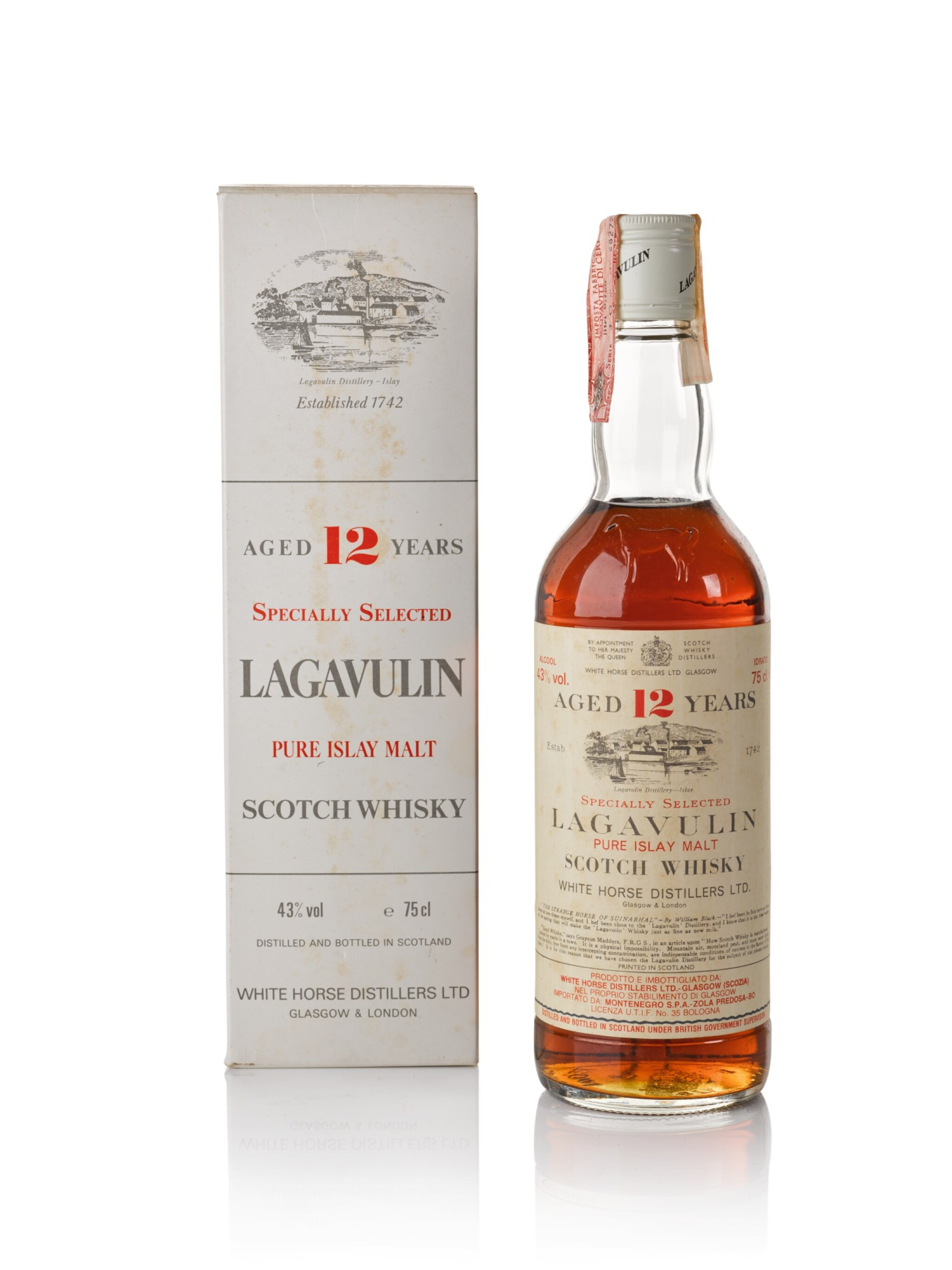 View full screen - View 1 of Lot 43. Lagavulin White Horse 12 Year Old 43.0 abv NV .