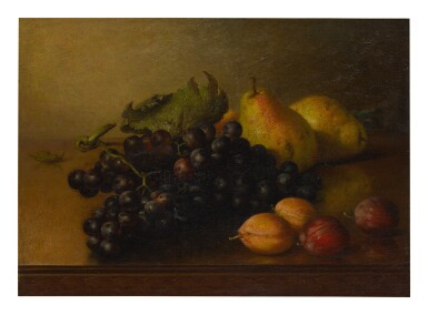 FRANKLIN HARRISON MILLER | SILL LIFE WITH GRAPES, PEARS AND PLUMS