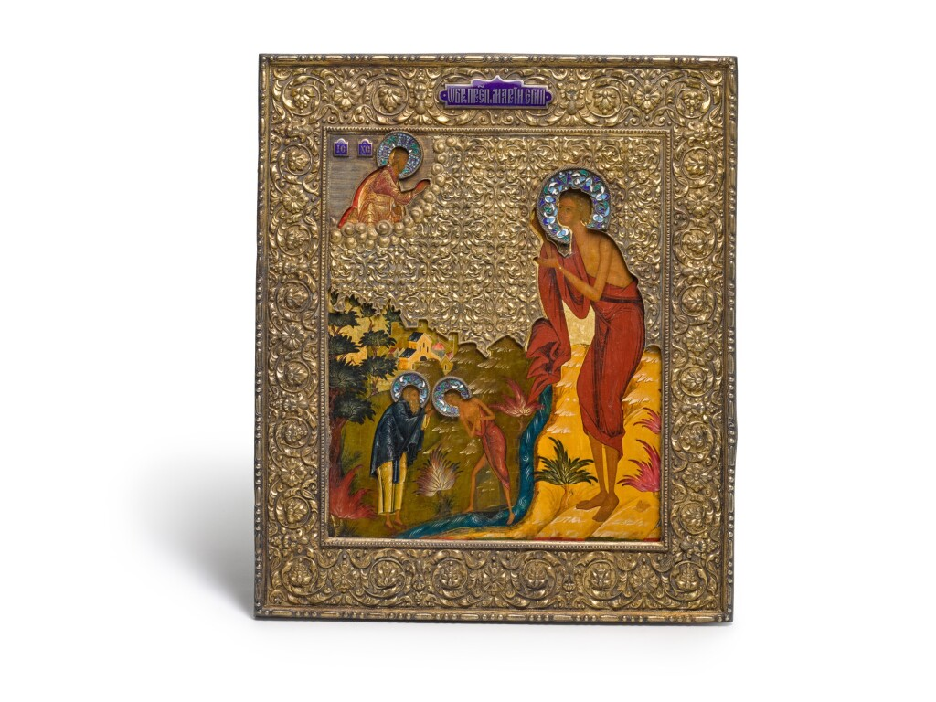 A SILVER-GILT AND CLOISONNÉ ENAMEL ICON OF SAINT MARY OF EGYPT, MOSCOW, 1879