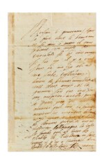 """DUC DE GUISE. Lettre autographe signée à Monsieur d'Entraigues. """"Ce treyze"""" [février 1586 ?]."""