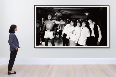 View 4. Thumbnail of Lot 27. CHRIS SMITH | Ali and the Beatles, 1964, mural-sized silver print, signed & numbered 7/20.
