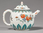 A MEISSEN DUTCH-DECORATED TEAPOT AND COVER THE PORCELAIN CIRCA 1715, THE DECORATION CIRCA 1730-40