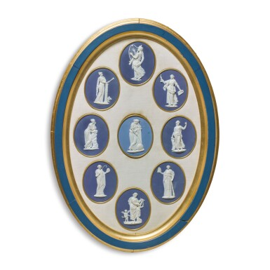 A GROUP OF WEDGWOOD AND BENTLEY BLUE AND WHITE JASPERWARE OVAL MEDALLIONS OF THE NINE MUSES CIRCA 1776