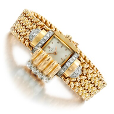 View 2. Thumbnail of Lot 73. Eska   Diamond watch/bracelet, 1950s.